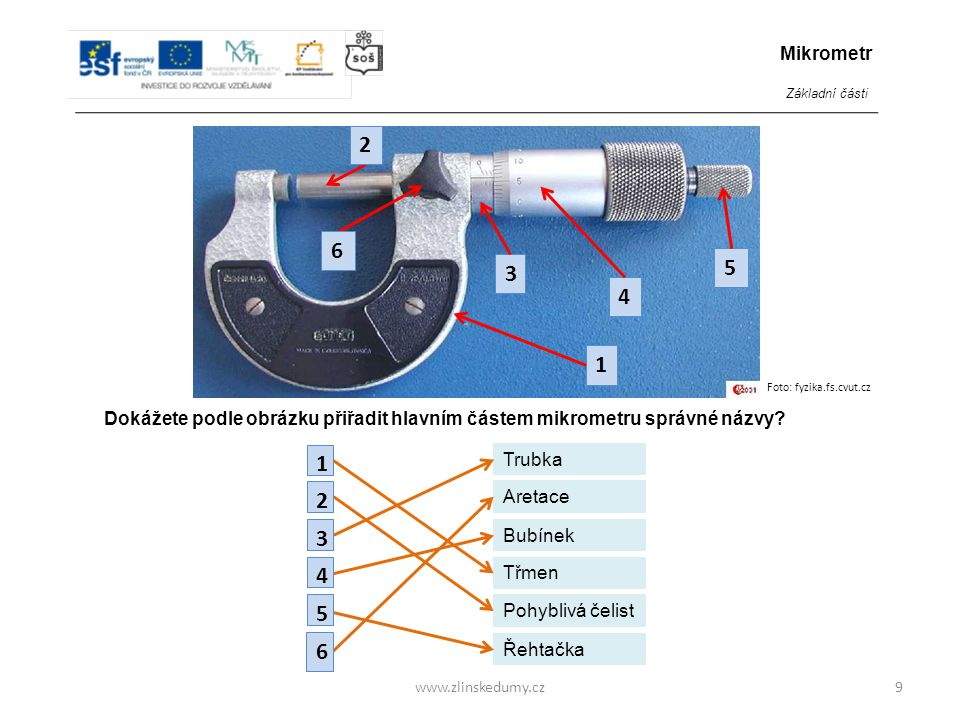 Mikrometr Základní části. Foto: fyzika.fs.cvut.cz. 1. 3. 4. 5. 2. 6. Dokážete podle obrázku přiřadit hlavním částem mikrometru správné názvy