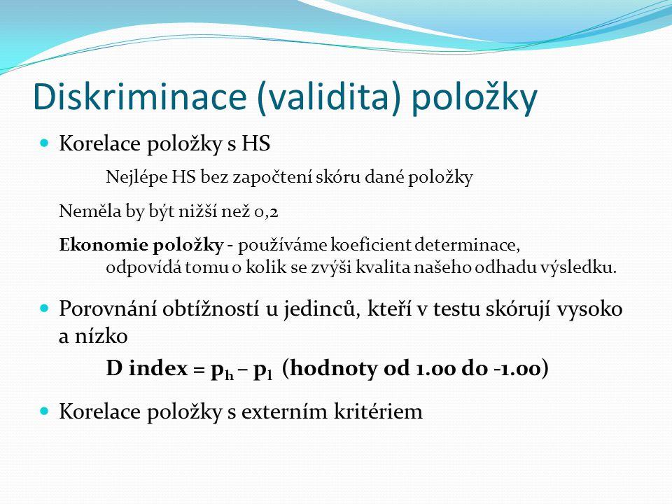 Diskriminace (validita) položky
