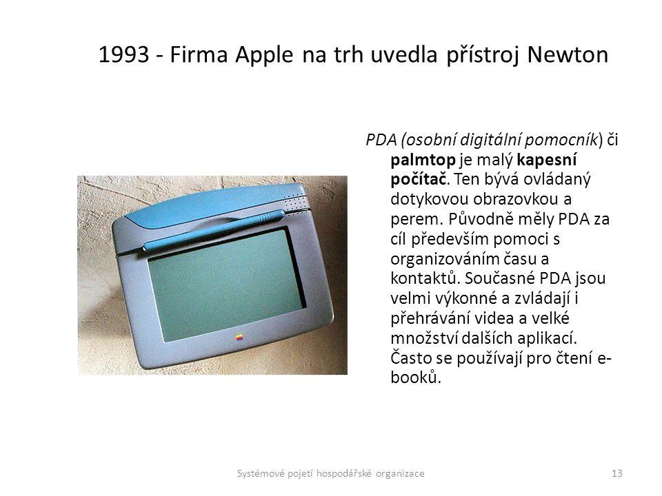 1993 - Firma Apple na trh uvedla přístroj Newton