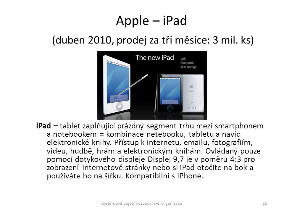 Apple – iPad (duben 2010, prodej za tři měsíce: 3 mil. ks)