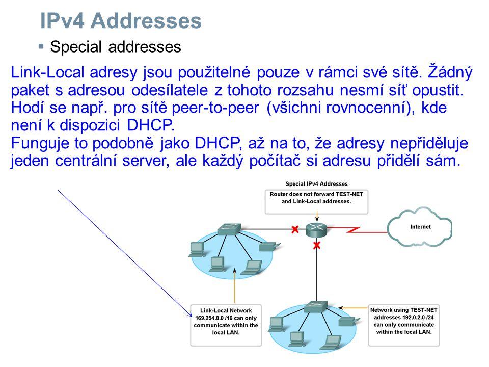 IPv4 Addresses Special addresses