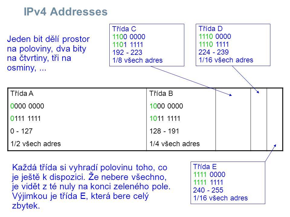 IPv4 Addresses Třída C. 1100 0000. 1101 1111. 192 - 223. 1/8 všech adres. Třída D. 1110 0000.