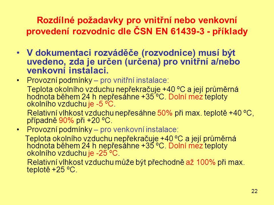 Rozdílné požadavky pro vnitřní nebo venkovní provedení rozvodnic dle ČSN EN 61439-3 - příklady