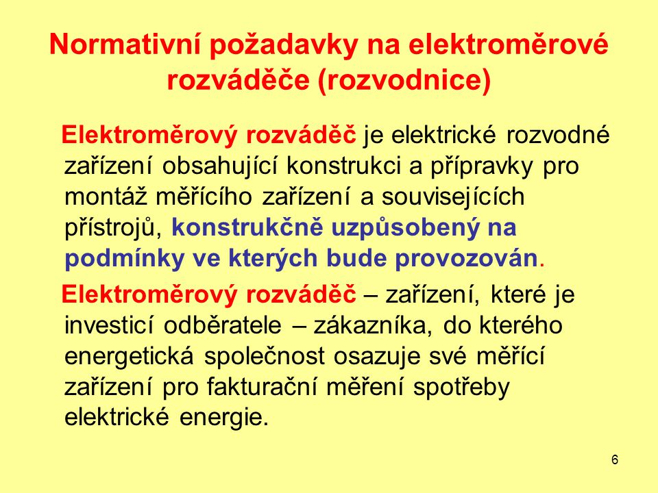 Normativní požadavky na elektroměrové rozváděče (rozvodnice)