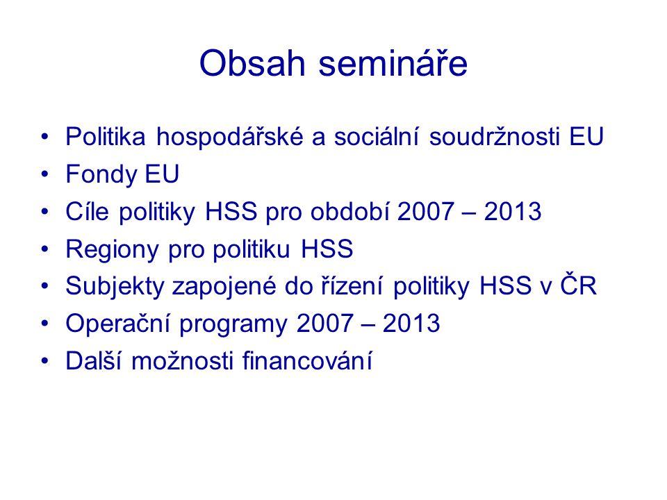 Obsah semináře Politika hospodářské a sociální soudržnosti EU Fondy EU