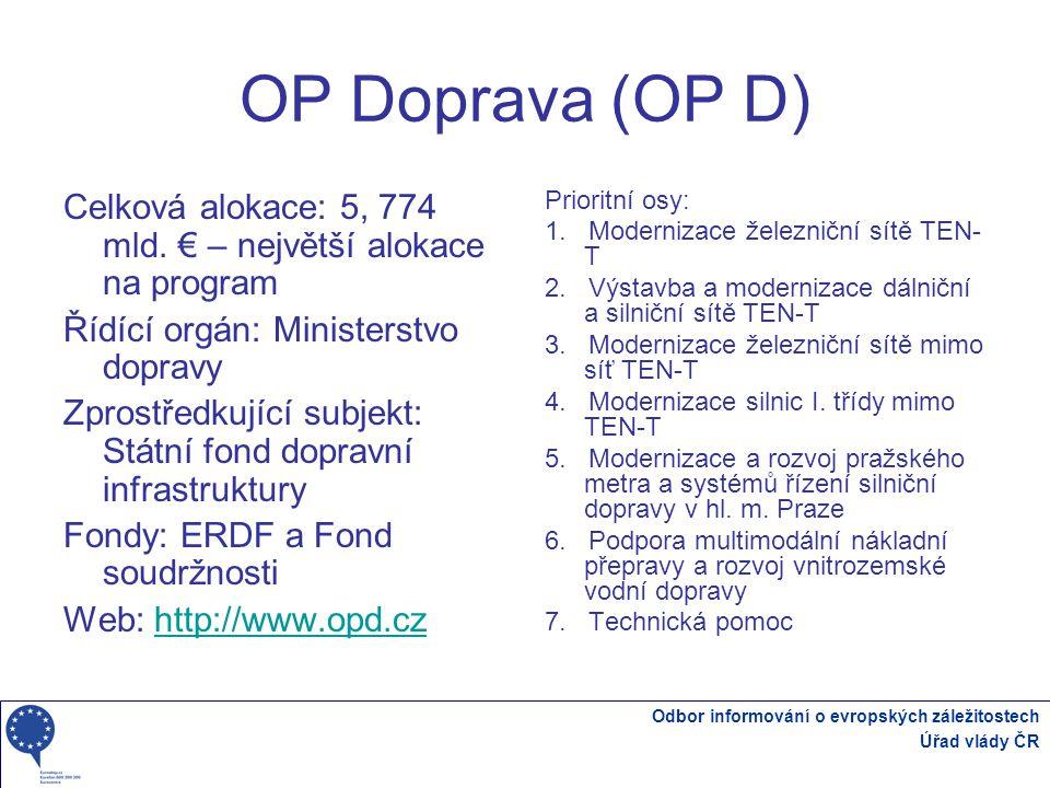 OP Doprava (OP D) Celková alokace: 5, 774 mld. € – největší alokace na program. Řídící orgán: Ministerstvo dopravy.