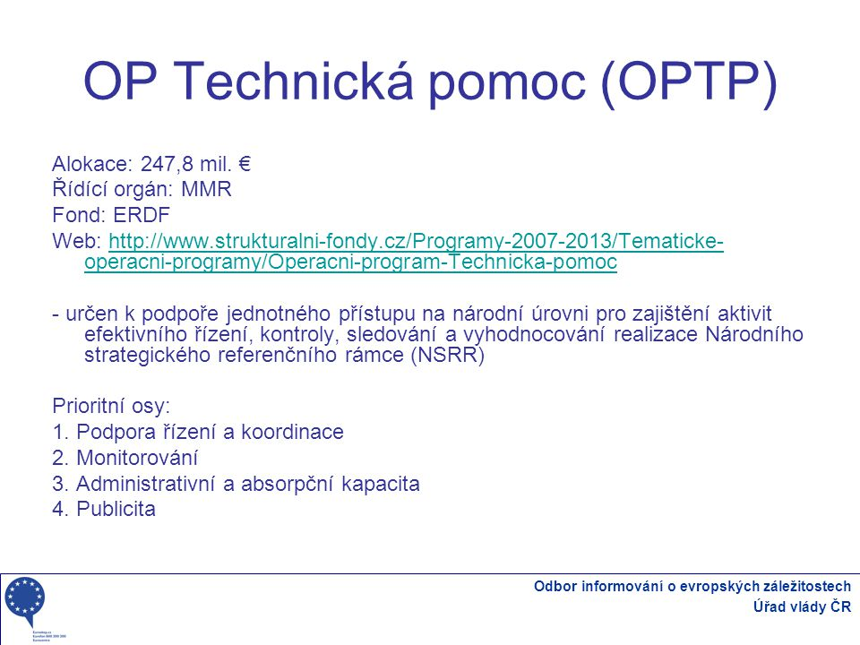 OP Technická pomoc (OPTP)