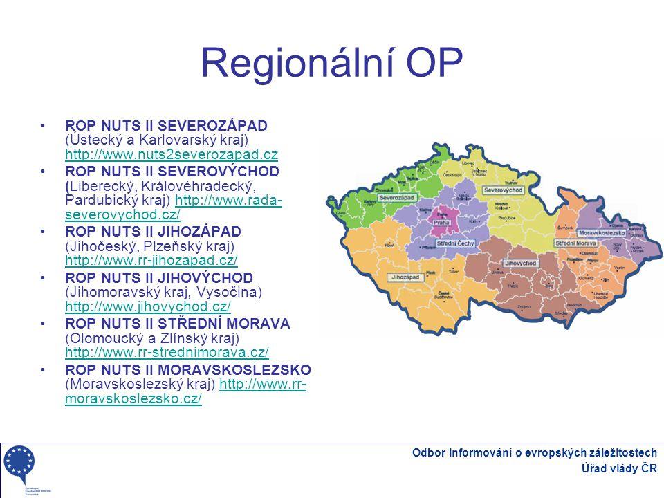 Regionální OP ROP NUTS II SEVEROZÁPAD (Ústecký a Karlovarský kraj) http://www.nuts2severozapad.cz.