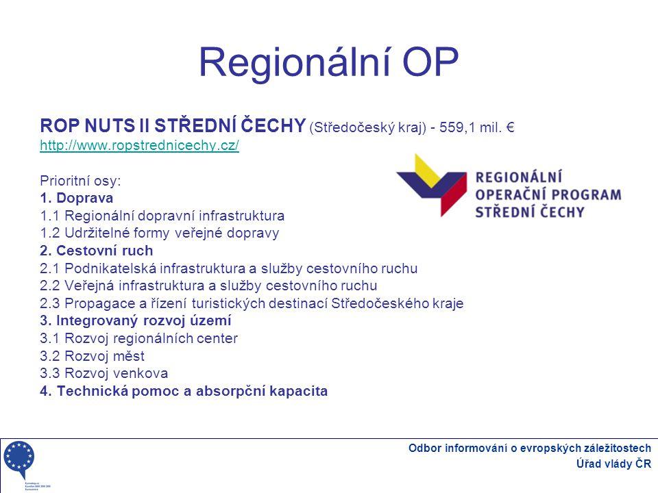 Regionální OP ROP NUTS II STŘEDNÍ ČECHY (Středočeský kraj) - 559,1 mil. € http://www.ropstrednicechy.cz/