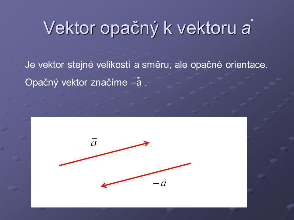 Vektor opačný k vektoru a