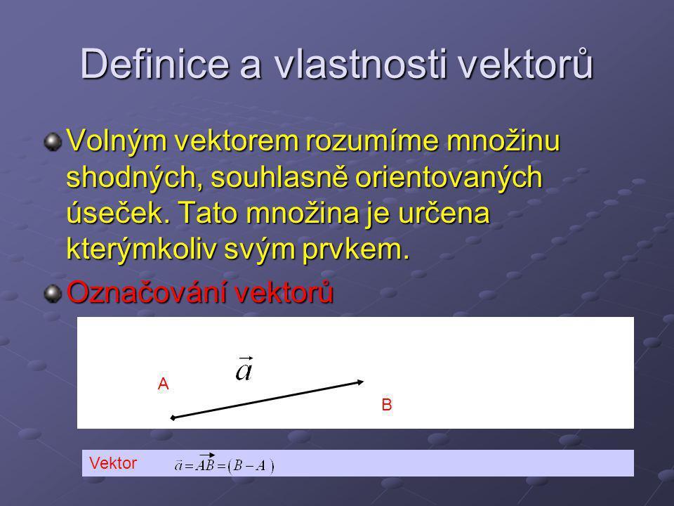 Definice a vlastnosti vektorů