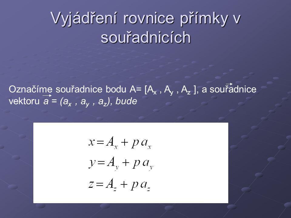 Vyjádření rovnice přímky v souřadnicích