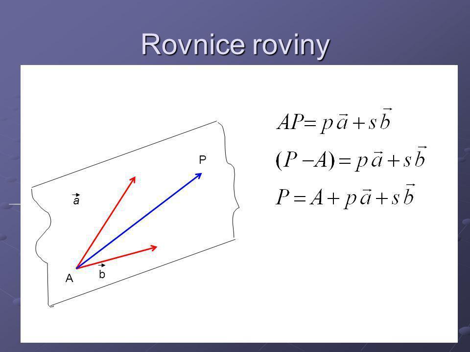 Rovnice roviny P a b A