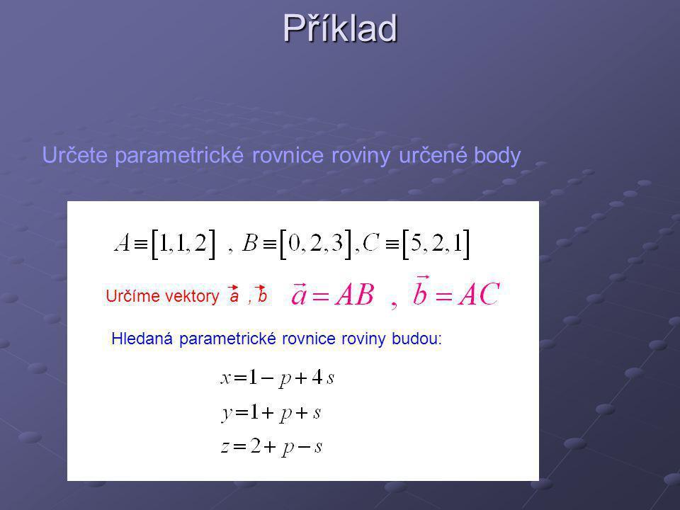 Příklad Určete parametrické rovnice roviny určené body