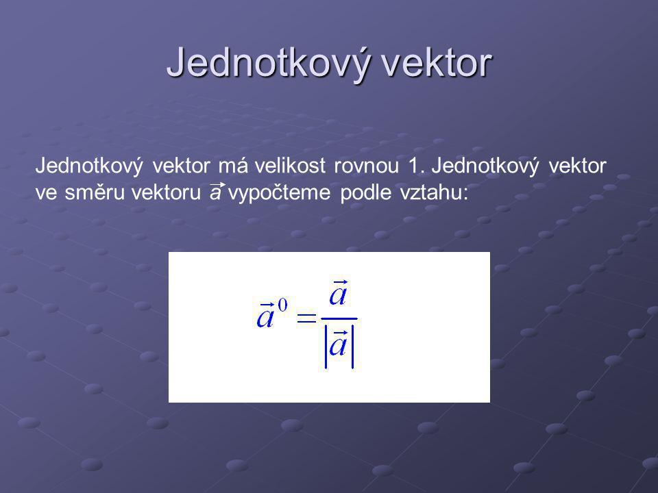 Jednotkový vektor Jednotkový vektor má velikost rovnou 1.