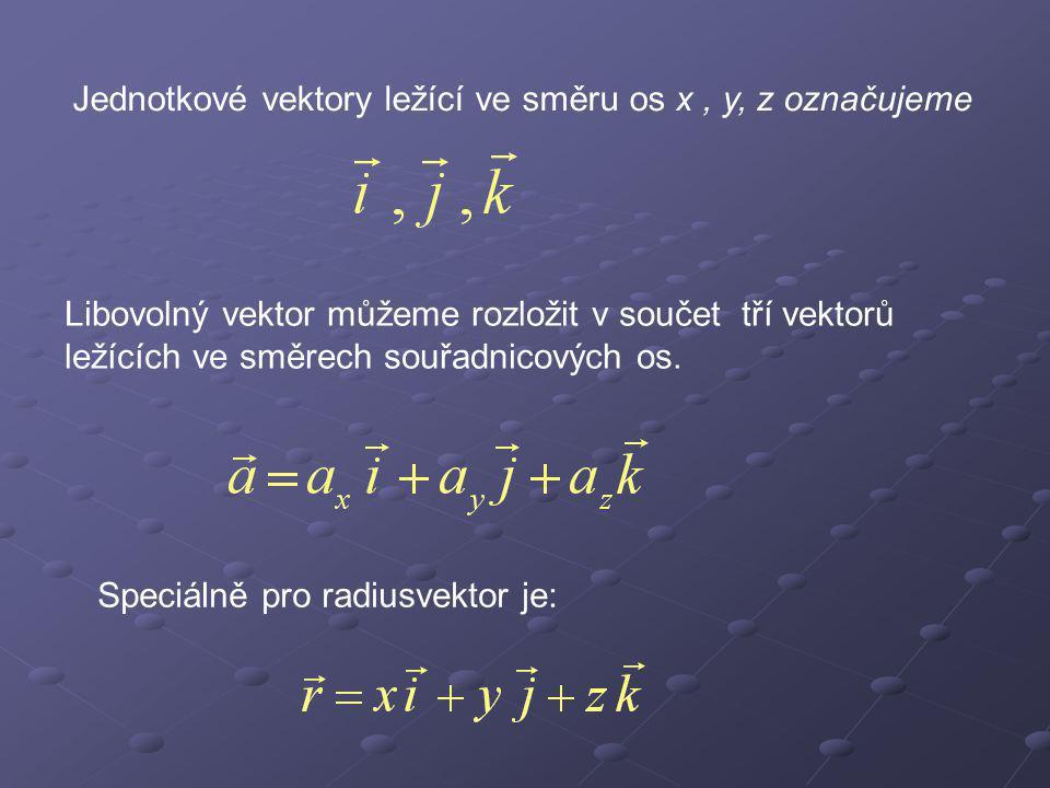 Jednotkové vektory ležící ve směru os x , y, z označujeme