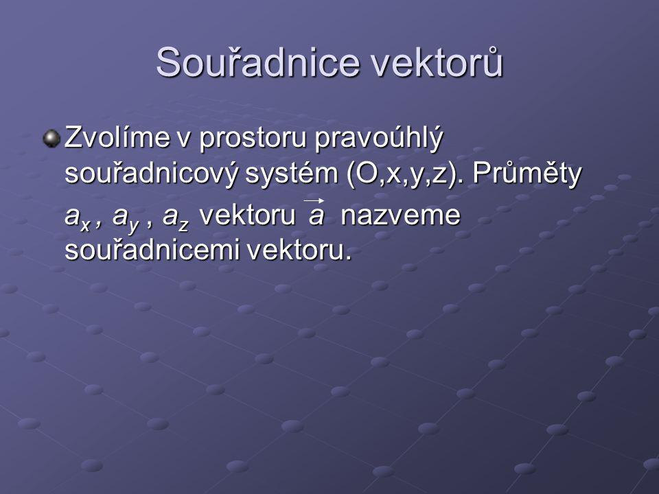 Souřadnice vektorů Zvolíme v prostoru pravoúhlý souřadnicový systém (O,x,y,z).