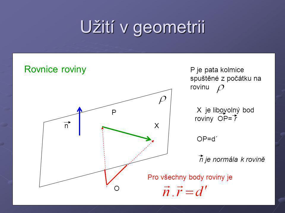 Užití v geometrii Rovnice roviny