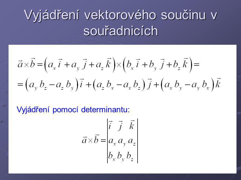 Vyjádření vektorového součinu v souřadnicích