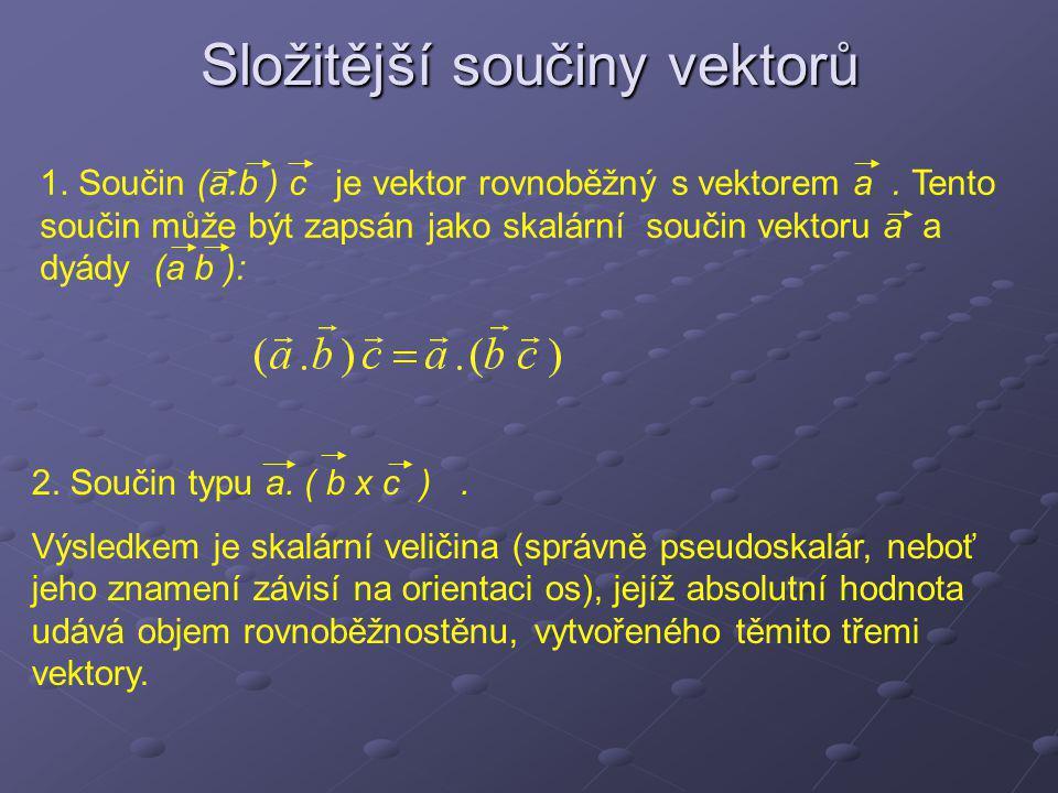 Složitější součiny vektorů