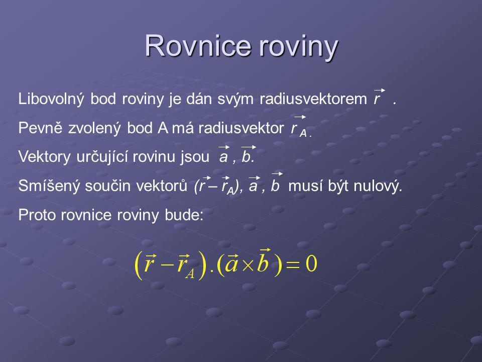 Rovnice roviny Libovolný bod roviny je dán svým radiusvektorem r .
