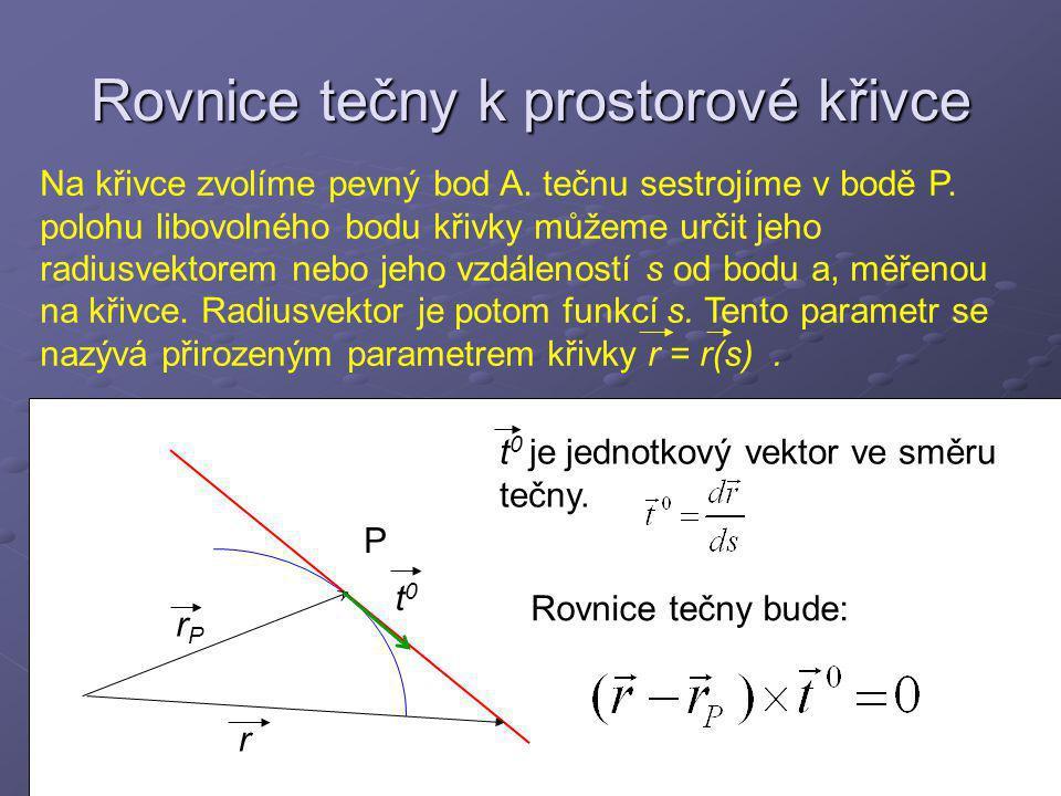 Rovnice tečny k prostorové křivce