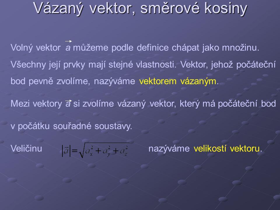 Vázaný vektor, směrové kosiny
