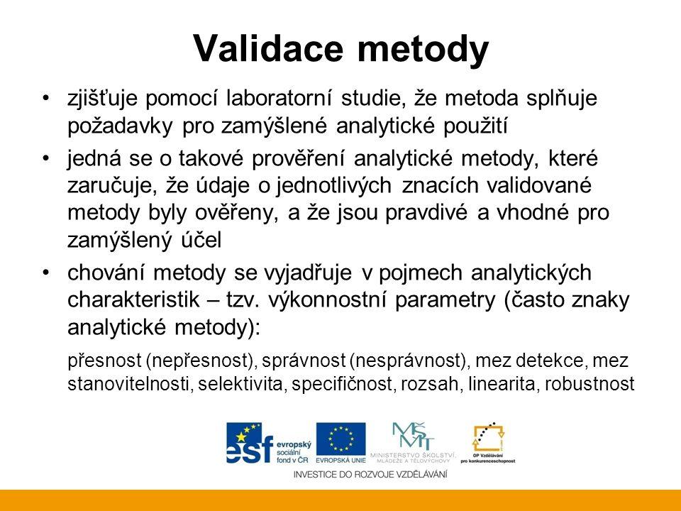 Validace metody zjišťuje pomocí laboratorní studie, že metoda splňuje požadavky pro zamýšlené analytické použití.