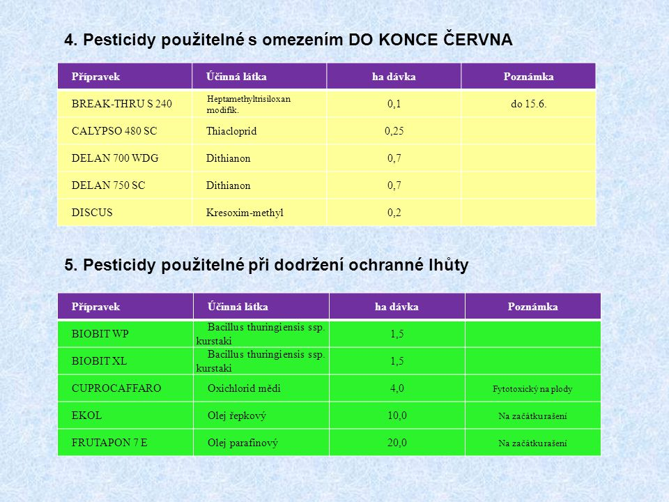 4. Pesticidy použitelné s omezením DO KONCE ČERVNA