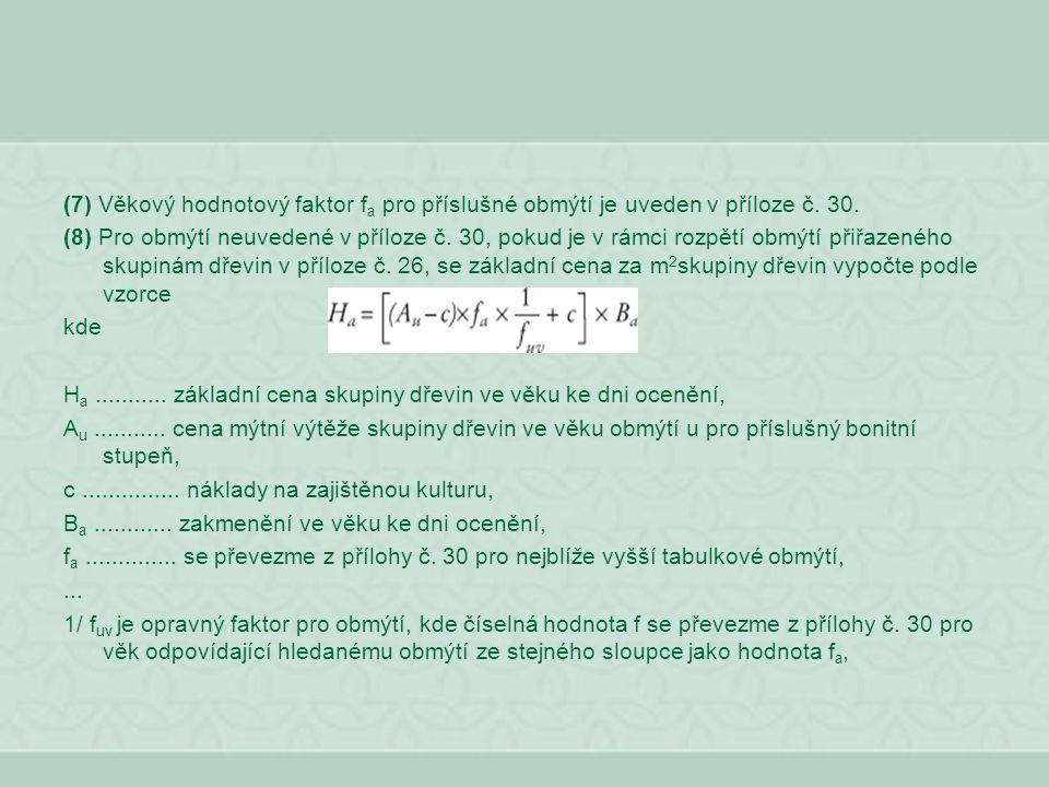 (7) Věkový hodnotový faktor fa pro příslušné obmýtí je uveden v příloze č. 30.