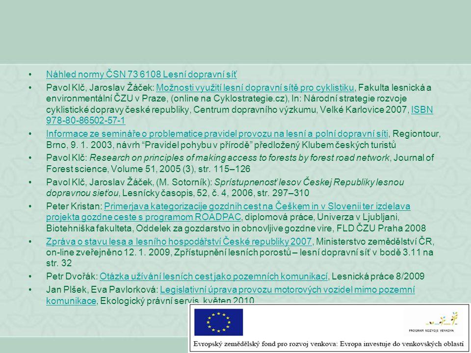 Náhled normy ČSN 73 6108 Lesní dopravní síť