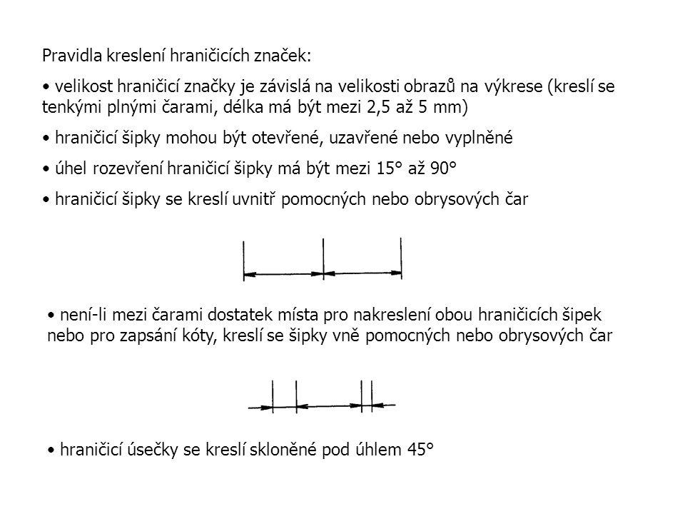 Pravidla kreslení hraničicích značek: