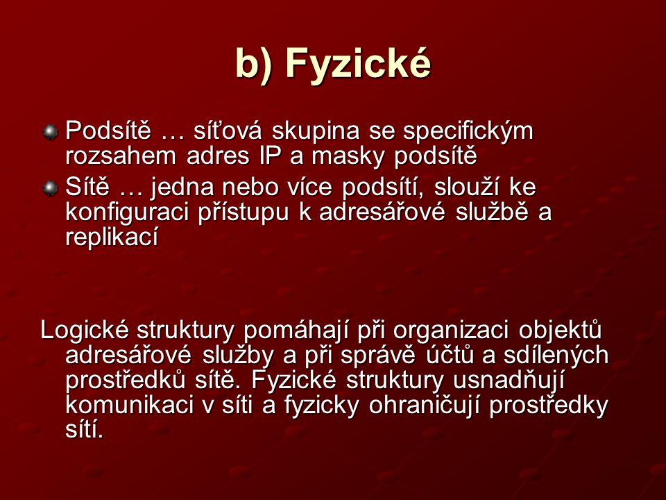 b) Fyzické Podsítě … síťová skupina se specifickým rozsahem adres IP a masky podsítě.