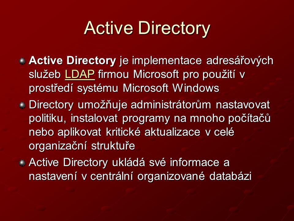 Active Directory Active Directory je implementace adresářových služeb LDAP firmou Microsoft pro použití v prostředí systému Microsoft Windows.