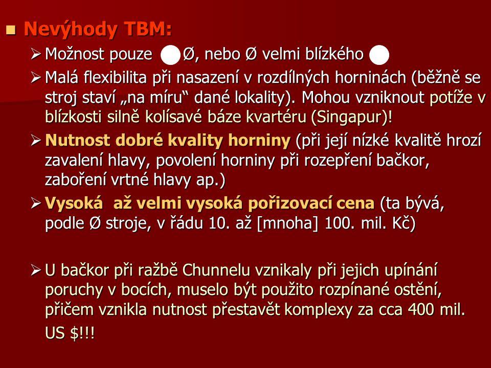 Nevýhody TBM: Možnost pouze Ø, nebo Ø velmi blízkého