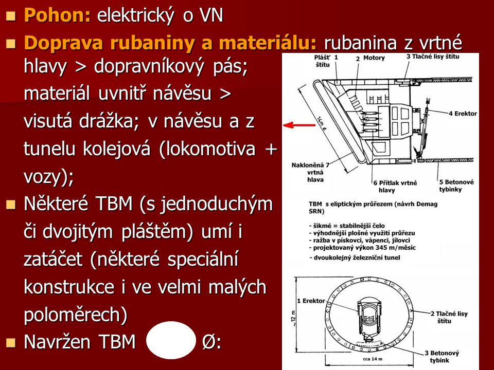 Pohon: elektrický o VN Doprava rubaniny a materiálu: rubanina z vrtné hlavy > dopravníkový pás; materiál uvnitř návěsu >