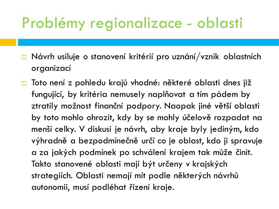 Problémy regionalizace - oblasti
