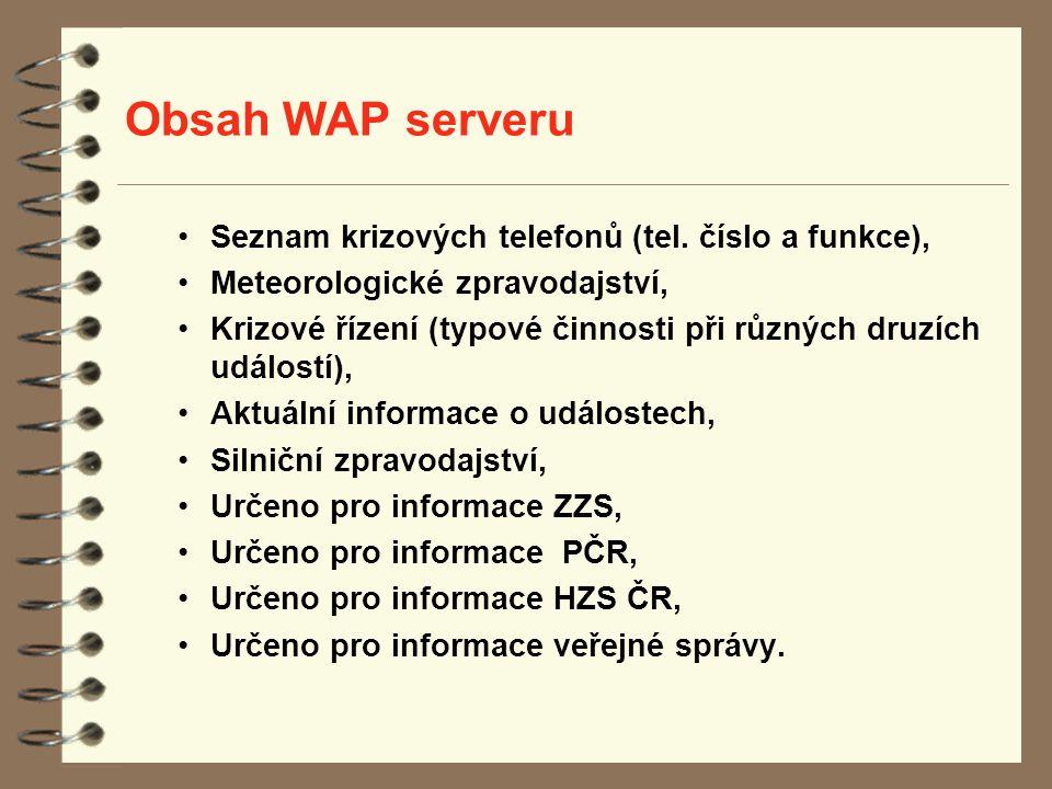 Obsah WAP serveru Seznam krizových telefonů (tel. číslo a funkce),