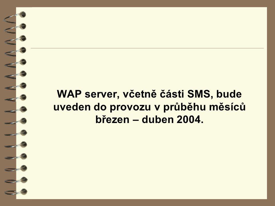 WAP server, včetně části SMS, bude uveden do provozu v průběhu měsíců březen – duben 2004.