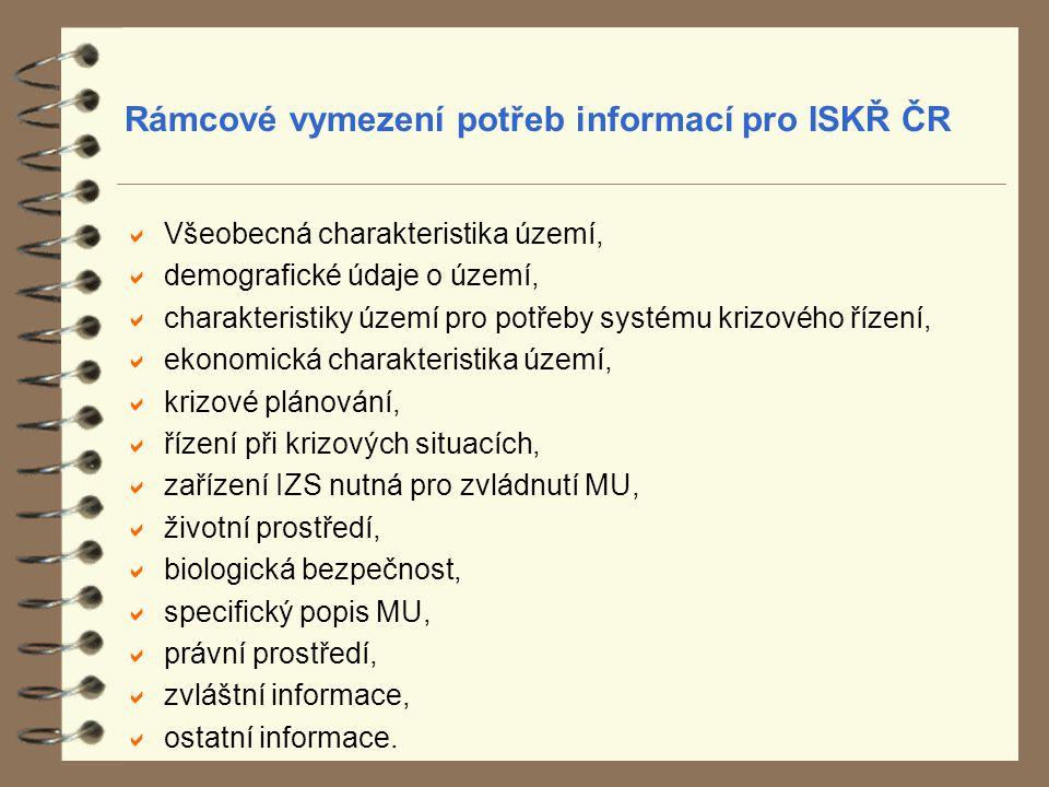 Rámcové vymezení potřeb informací pro ISKŘ ČR