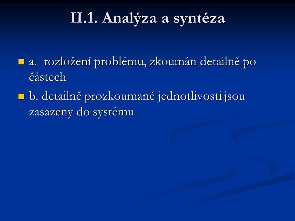 II.1. Analýza a syntéza a. rozložení problému, zkoumán detailně po částech.