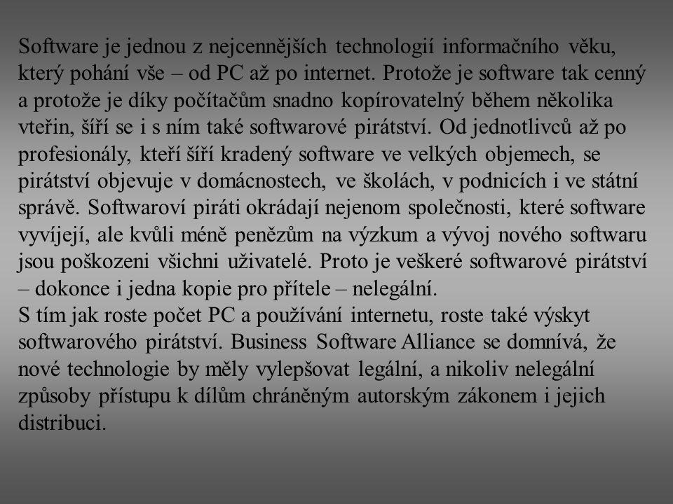 Software je jednou z nejcennějších technologií informačního věku, který pohání vše – od PC až po internet. Protože je software tak cenný a protože je díky počítačům snadno kopírovatelný během několika vteřin, šíří se i s ním také softwarové pirátství. Od jednotlivců až po profesionály, kteří šíří kradený software ve velkých objemech, se pirátství objevuje v domácnostech, ve školách, v podnicích i ve státní správě. Softwaroví piráti okrádají nejenom společnosti, které software vyvíjejí, ale kvůli méně penězům na výzkum a vývoj nového softwaru jsou poškozeni všichni uživatelé. Proto je veškeré softwarové pirátství – dokonce i jedna kopie pro přítele – nelegální.