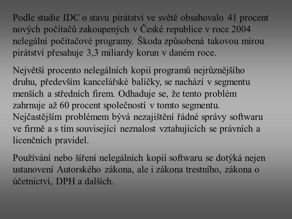 Podle studie IDC o stavu pirátství ve světě obsahovalo 41 procent nových počítačů zakoupených v České republice v roce 2004 nelegální počítačové programy. Škoda způsobená takovou mírou pirátství přesahuje 3,3 miliardy korun v daném roce.