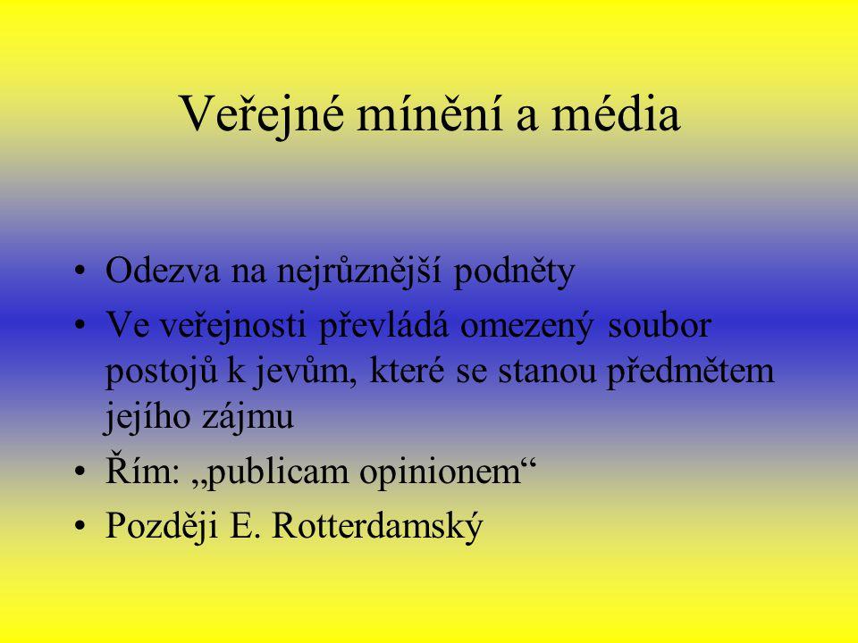 Veřejné mínění a média Odezva na nejrůznější podněty