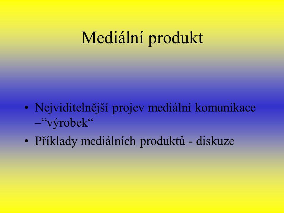 Mediální produkt Nejviditelnější projev mediální komunikace – výrobek