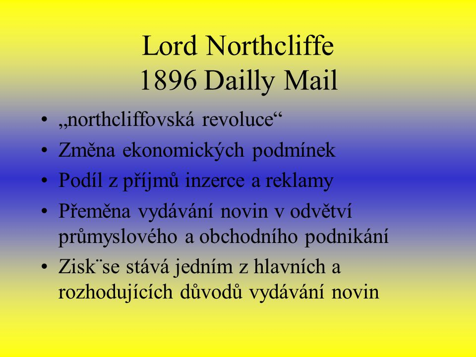 Lord Northcliffe 1896 Dailly Mail
