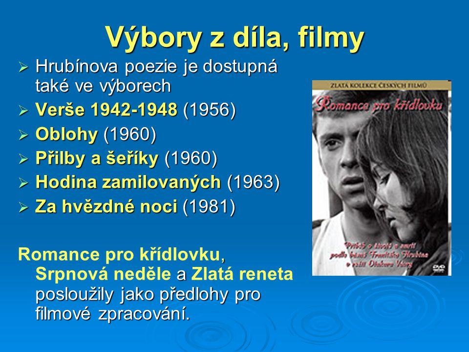 Výbory z díla, filmy Hrubínova poezie je dostupná také ve výborech