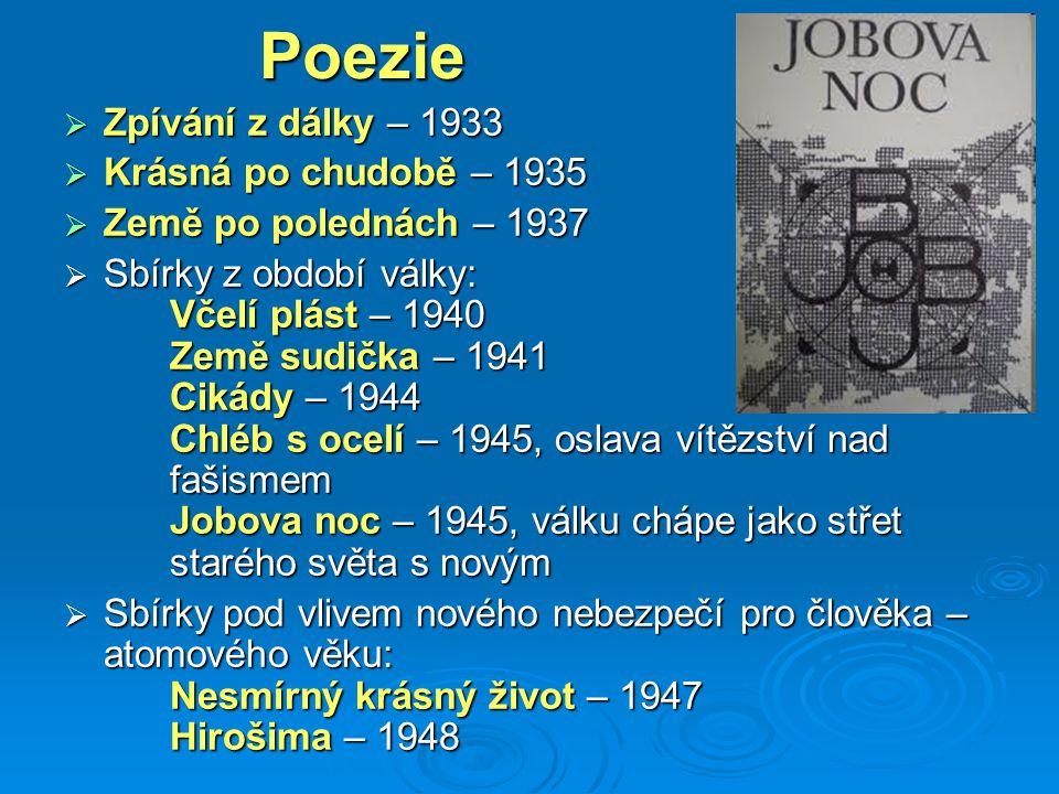 Poezie Zpívání z dálky – 1933 Krásná po chudobě – 1935