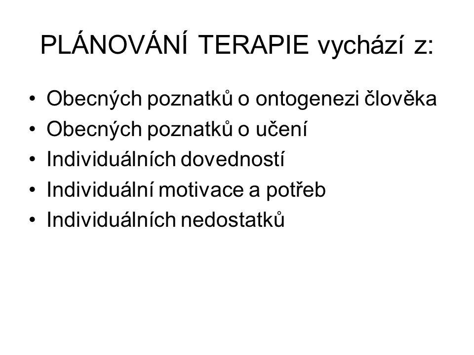 PLÁNOVÁNÍ TERAPIE vychází z: