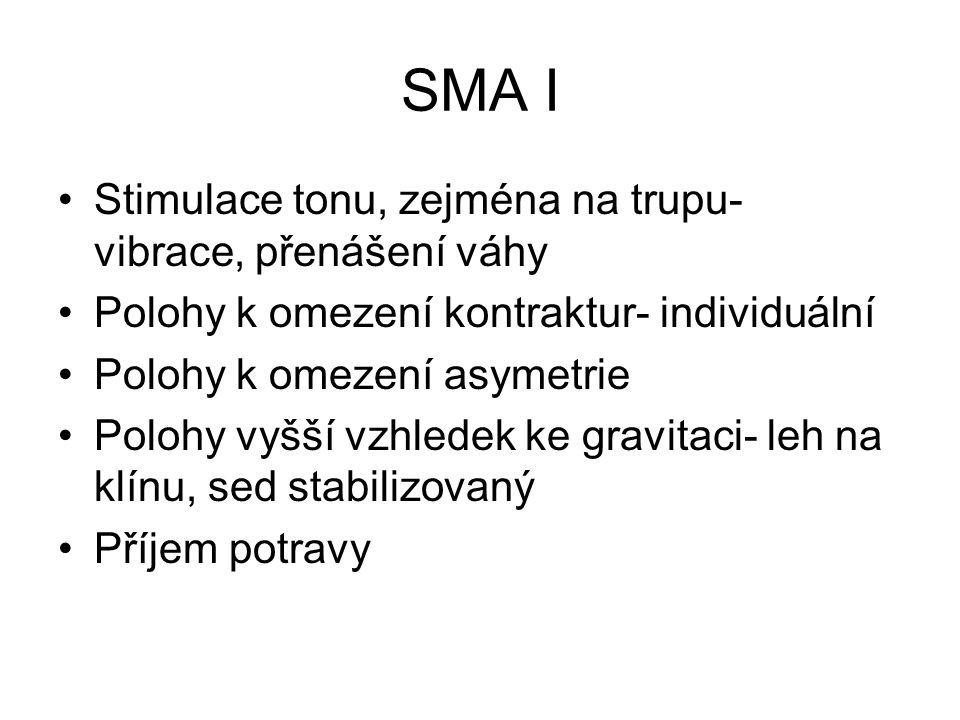 SMA I Stimulace tonu, zejména na trupu- vibrace, přenášení váhy